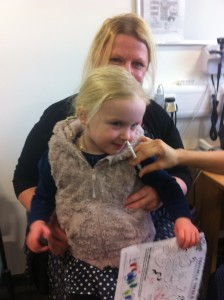 Jemima making it look easy as she has her nasal spray flu vaccine.